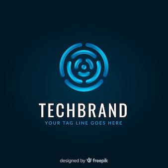 Modelo de logotipo de tecnologia com formas abstratas