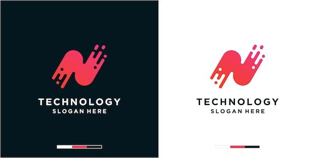 Modelo de logotipo de tecnologia da letra n