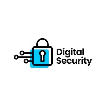Modelo de logotipo de tecnologia de cadeado de segurança digital
