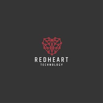 Modelo de logotipo de tecnologia de linha de coração