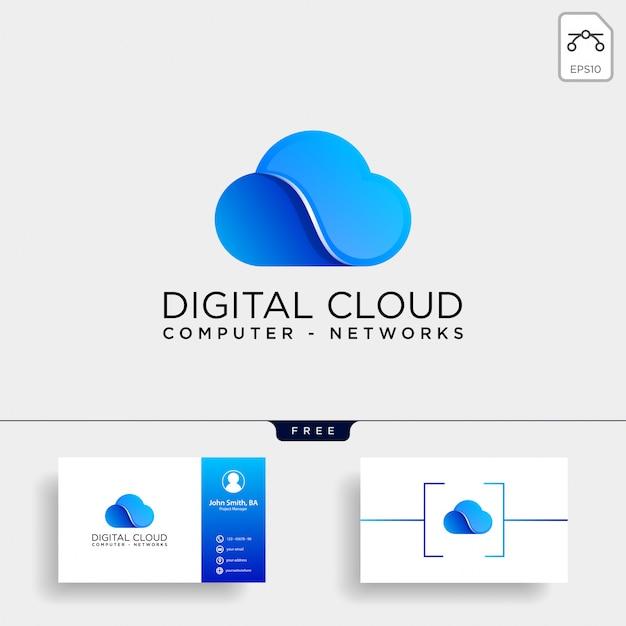 Modelo de logotipo de tecnologia digital em nuvem