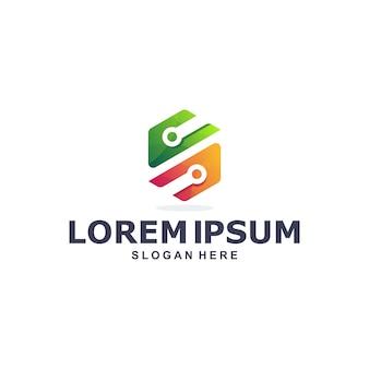 Modelo de logotipo de tecnologia hexagonal colorida