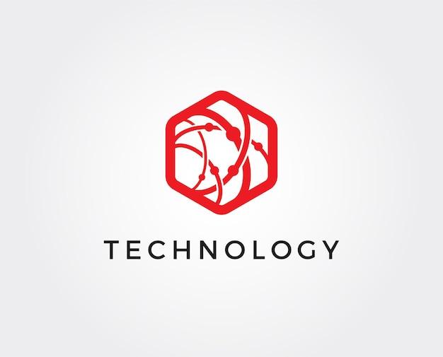 Modelo de logotipo de tecnologia mínima