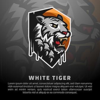 Modelo de logotipo de tigre branco