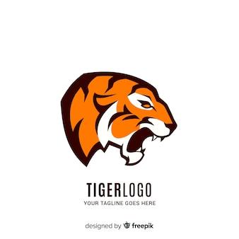 Modelo de logotipo de tigre rugindo