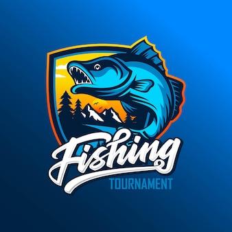 Modelo de logotipo de torneio de pesca isolado