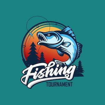 Modelo de logotipo de torneio de pesca vintage isolado