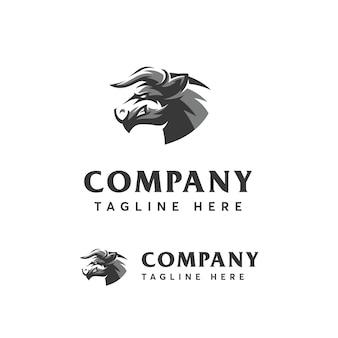 Modelo de logotipo de touro de cabeça de esporte