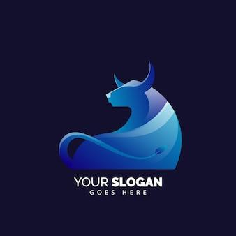 Modelo de logotipo de touro gradiente