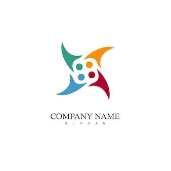 Modelo de logotipo de trabalho em equipe e caridade
