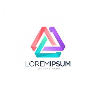 Modelo de logotipo de triângulo abstrato