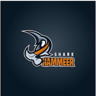 Modelo de logotipo de tubarão martelo