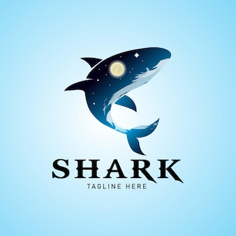 Modelo de logotipo de tubarão.