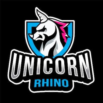 Modelo de logotipo de unicórnio rinoceronte