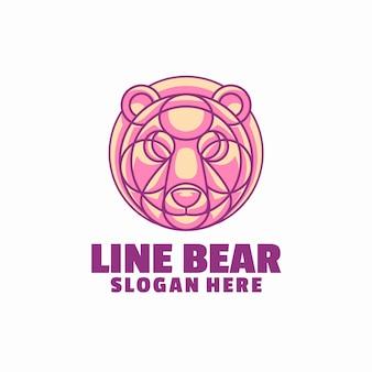 Modelo de logotipo de urso de linha