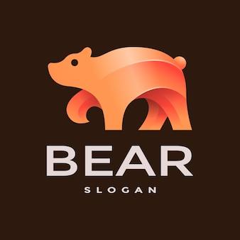 Modelo de logotipo de urso gradiente