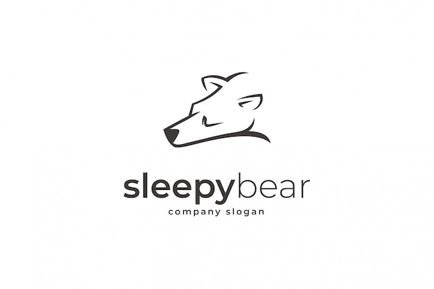 Modelo de logotipo de urso sonolento