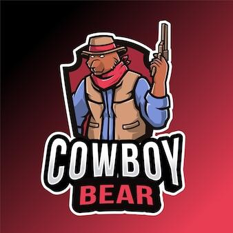 Modelo de logotipo de urso vaqueiro isolado em vermelho e preto