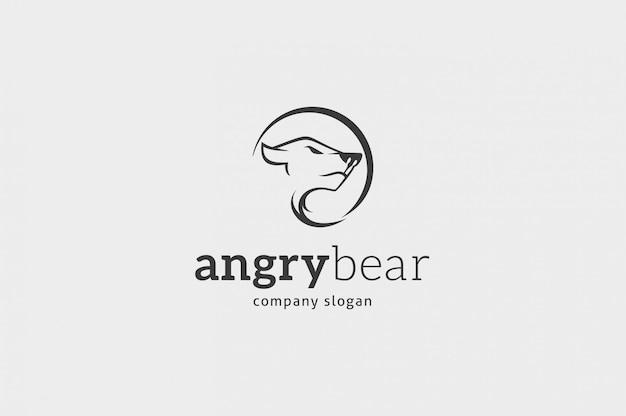 Modelo de logotipo de urso