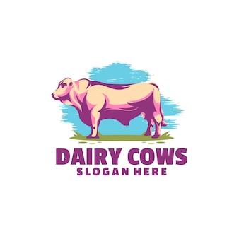 Modelo de logotipo de vaca leiteira