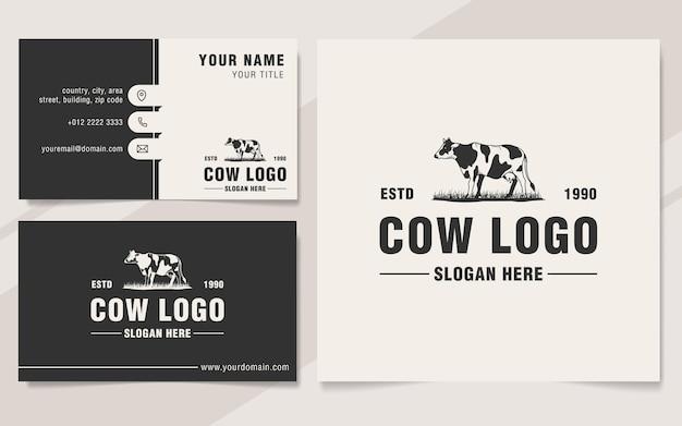 Modelo de logotipo de vaca vintage estilo monograma