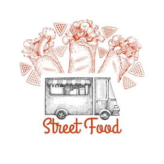 Modelo de logotipo de van de comida de rua.