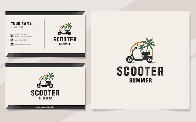 Modelo de logotipo de verão de scooter em estilo monograma