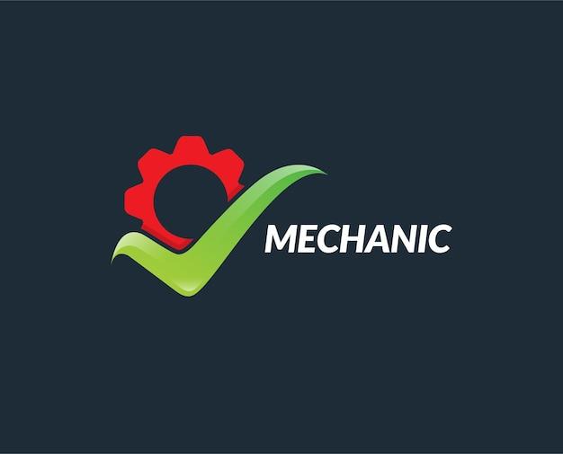 Modelo de logotipo de verificação de engrenagem mínima