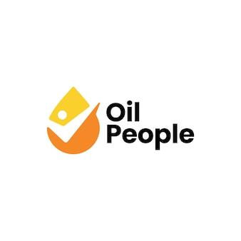 Modelo de logotipo de verificação de gota de óleo de pessoas