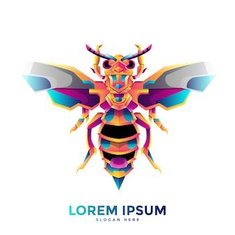 Modelo de logotipo de vespa colorida
