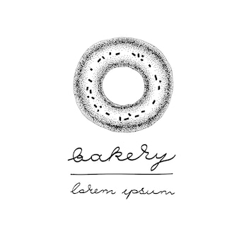 Modelo de logotipo de vetor com donut de vidro