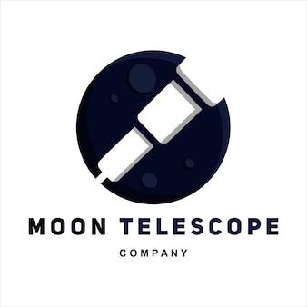 Modelo de logotipo de vetor com ilustração plana da lua e do telescópio