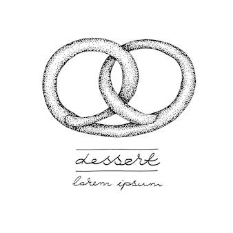 Modelo de logotipo de vetor com pretzel