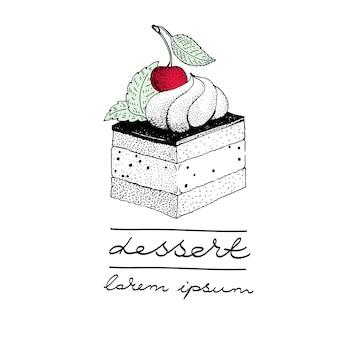 Modelo de logotipo de vetor com um pedaço de bolo com uma baga