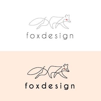 Modelo de logotipo de vetor de arte em linha monoline fox