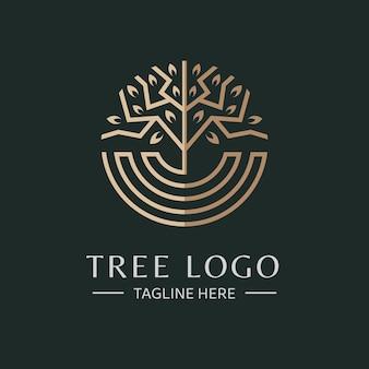 Modelo de logotipo de vetor de árvore circular absract