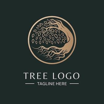 Modelo de logotipo de vetor de árvore de círculo de luxo absract