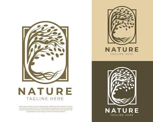 Modelo de logotipo de vetor de árvore natural