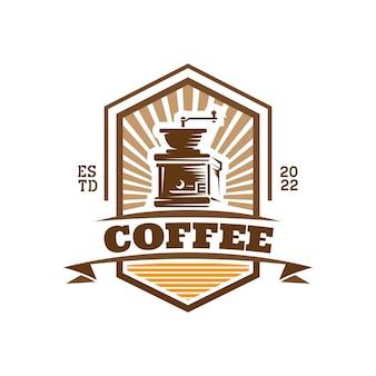Modelo de logotipo de vetor de cafeteria com ícone de moedor