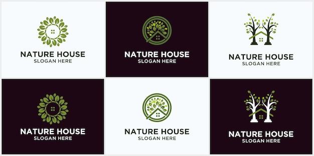 Modelo de logotipo de vetor de casa natural, logotipo amigável de eco. árvore e eco conceito de logotipo natural de folha verde em casa.