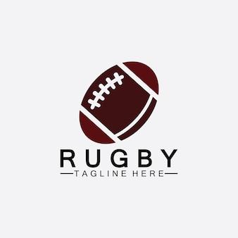 Modelo de logotipo de vetor de ícone de futebol americano de bola de rugby