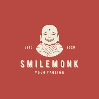 Modelo de logotipo de vetor de monge de sorriso