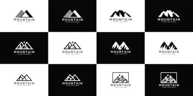 Modelo de logotipo de vetor de montanha de coleção