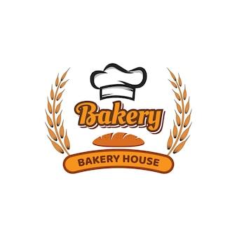 Modelo de logotipo de vetor de padaria e pão