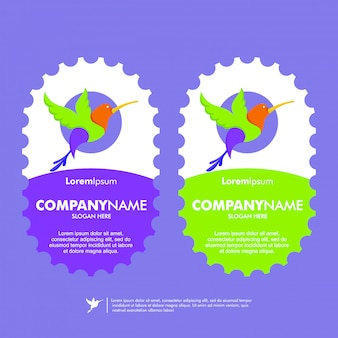 Modelo de logotipo de vetor de pássaro colorido