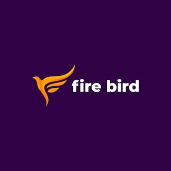 Modelo de logotipo de vetor de pássaro de fogo