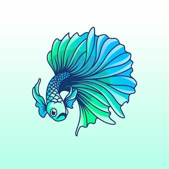 Modelo de logotipo de vetor de peixe betta