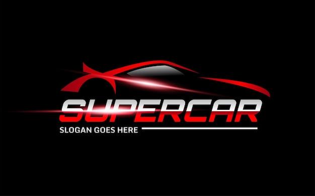 Modelo de logotipo de vetor de super carro vermelho