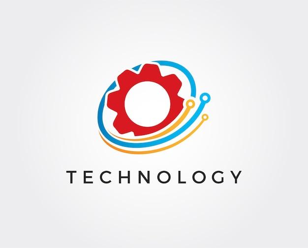Modelo de logotipo de vetor de tecnologia de engrenagem
