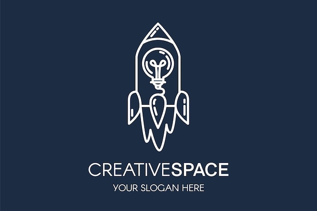 Modelo de logotipo de vetor linear foguete e lâmpada. logotipo da startup com tipografia de espaço criativo